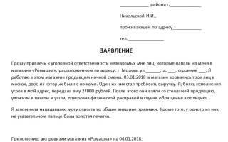 Заявление юр лица о самоуправстве в полицию образец