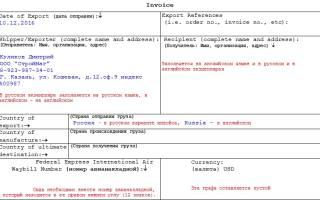 Проформа инвойс образец заполнения